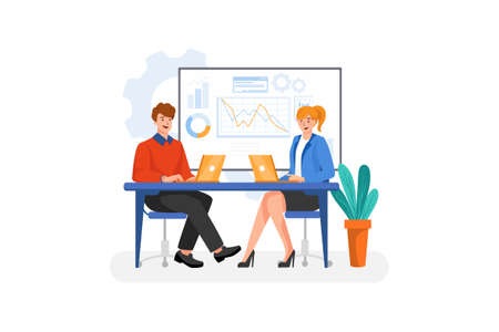 Business & Startup Vector Illustration concept. Can use for web banner, infographics, hero images. Flat illustration isolated on white background. 版權商用圖片 - 157234329