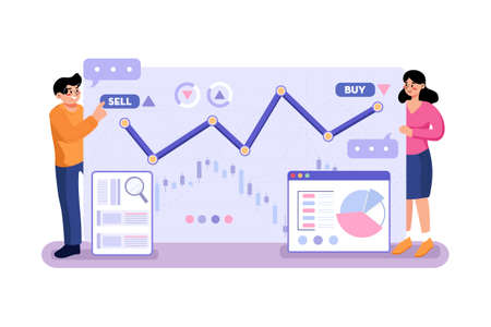 Stock Analysis Vector Illustration concept. Can use for web banner, infographics, hero images. Flat illustration isolated on white background.