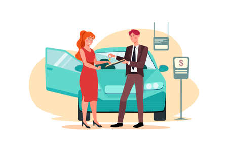 Car Dealership Vector Illustration concept. Can use for web banner, infographics, hero images. Flat illustration isolated on white background.
