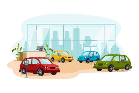 Car Dealership Vector Illustration concept. Can use for web banner, infographics, hero images. Flat illustration isolated on white background. 向量圖像