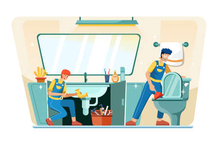 Plumbing Service Vector Illustration concept. Can use for web banner, infographics, hero images. Flat illustration isolated on white background. Vector Illustration