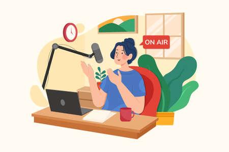 Live Streaming Vector Illustration concept. Can use for web banner, infographics, hero images. Flat illustration isolated on white background. Ilustração Vetorial