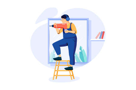 Handyman Services Vector Illustration concept. Can use for web banner, infographics, hero images. Flat illustration isolated on white background.
