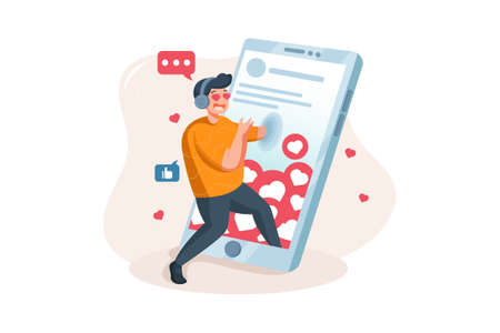 Social Network Vector Illustration concept. Can use for web banner, infographics, hero images. Flat illustration isolated on white background.