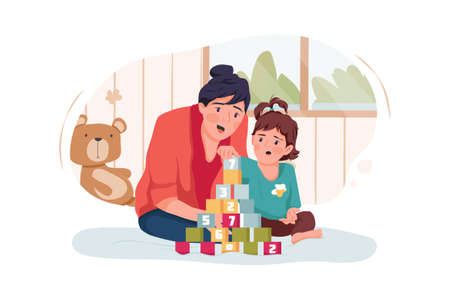 Babysitter Service Vector Illustration concept. Can use for web banner, infographics, hero images. Flat illustration isolated on white background. Ilustración de vector