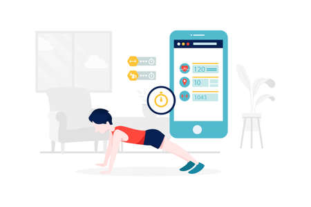 Smart Workout Vector Illustration concept. Can use for web banner, infographics, hero images. Flat illustration isolated on white background.
