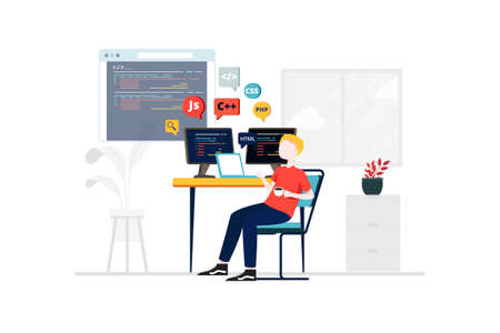 Information Technology Vector Illustration concept. Can use for web banner, infographics, hero images. Flat illustration isolated on white background.