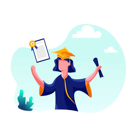 Education Vector Illustration concept. Can use for web banner, infographics, hero images. Flat illustration isolated on white background. Vettoriali