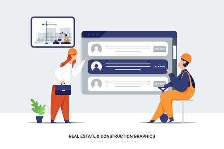 Construction Vector Illustration concept. Can use for web banner, infographics, hero images. Flat illustration isolated on white background. Ilustração