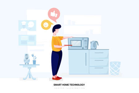 Smart Home Vector Illustration concept. Can use for web banner, infographics, hero images. Flat illustration isolated on white background.