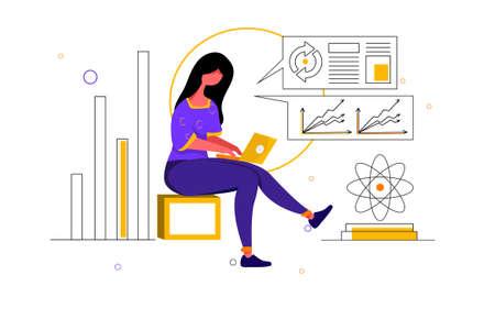 Digital Marketing Vector Illustration concept. Can use for web banner, infographics, hero images. Flat illustration isolated on white background. Illusztráció