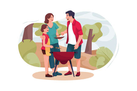 Family Travel Vector Illustration concept. Can use for web banner, infographics, hero images. Flat illustration isolated on white background.
