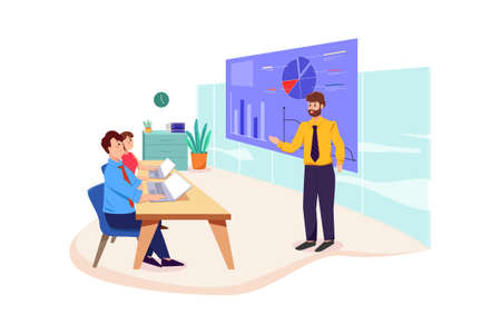 Business coaching Vector Illustration concept. Can use for web banner, infographics, hero images. Flat illustration isolated on white background.