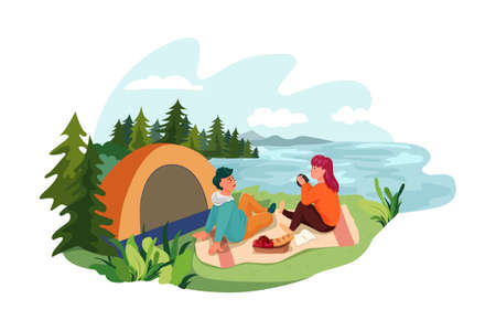 Camping Scene Vector Illustration concept. Can use for web banner, infographics, hero images. Flat illustration isolated on white background. 向量圖像