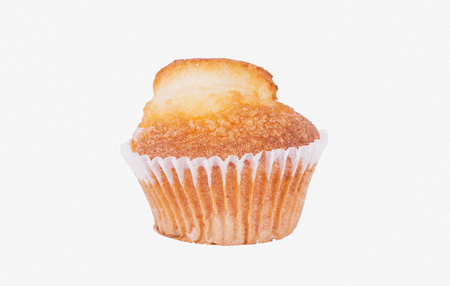 madalena: Muffin over white background
