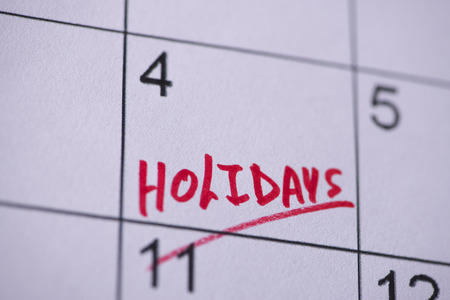 Holidays marked on a calendar