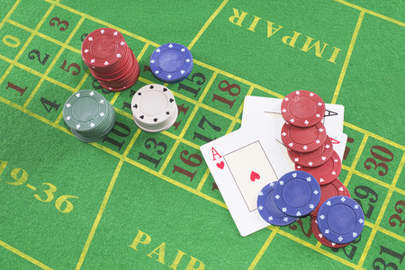 texas hold em: Four aces with poker rooms on green carpet