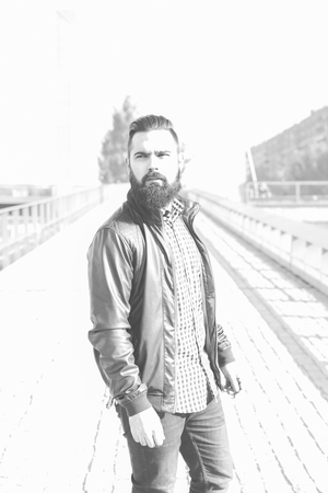 bw: Modern young man with a beard. Hipster BW