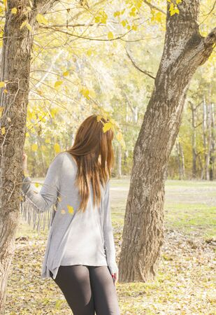 ttractive: ttractive woman in the forest, turn her head
