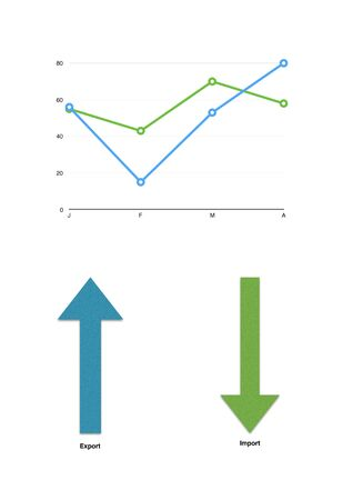 stockmarket chart: Color graph with rising profits lines with two arrows Stock Photo