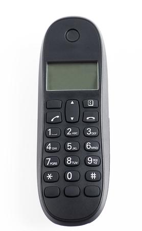 cordless: Black color cordless phone on white background