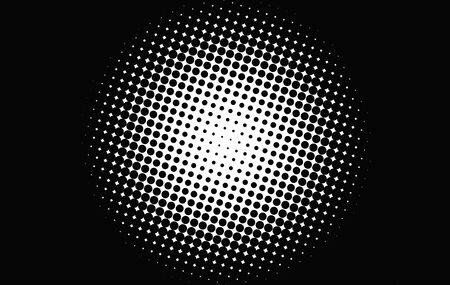 black dots: Abstract background of a circle of black dots on white