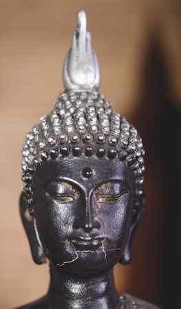 Close-up of the face of a gray and black budade figure on brown background Stock Photo