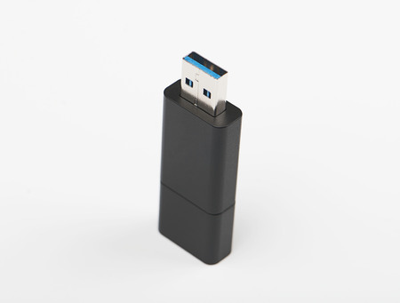 Close-up of a pendrive on white background. Isolated.