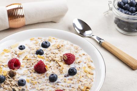 Cereal bowl breakfast with milk, raspberries and blueberries.