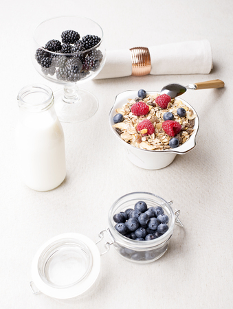 Breakfast cereal with raspberries and blueberries next to bottle of milk and tasty blackberries. Vertical studio shot.