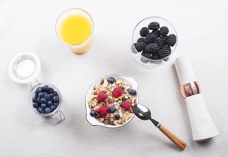 Breakfast cereal with raspberries and blueberries along with orange juice and tasty blackberries. Horizontal studio shot.