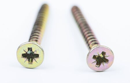 Close-up of two screws on white background. Isolated. Stock Photo