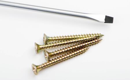 Screws and screwdriver on white background. Isolated. Stock Photo