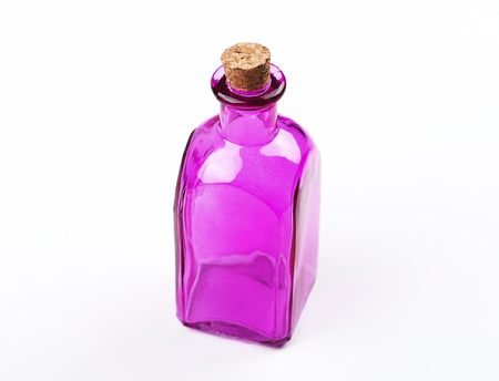 Glass jar of lilac color on white background. Isolated. Container. Copy space. Stock Photo