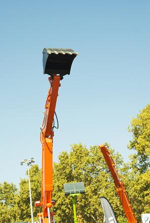 Extended shovel of a bulldozer. Stock Photo