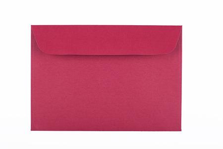 Envelope of garnet color on white background. Isolated. Mockup. Stock Photo
