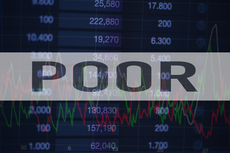 Background of numbers and trading charts with the word Poor written on top. Economy.