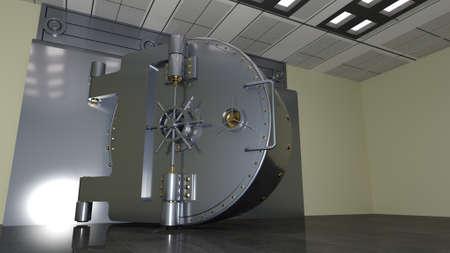 Bank safe door, large metal vault door open, 3D illustration