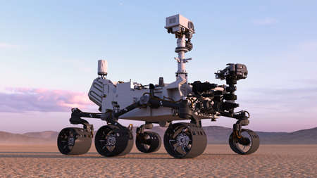 Mars Rover, robotic autonomous space vehicle on a deserted planet with hills in background, 3D rendering