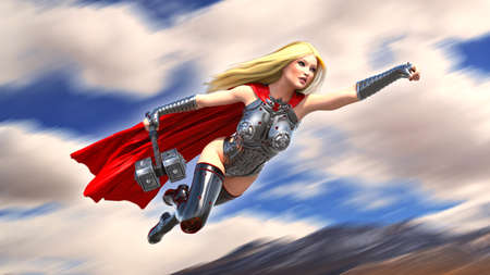Nordic heroine woman flying with hammer, Norse mythology superhero girl, ancient warrior princess with medieval weapon, 3D rendering Stock Photo