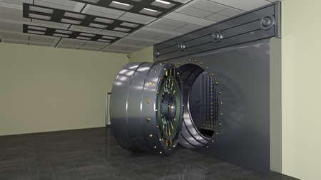 Safe door, large metal bank vault door open, 3D illustration