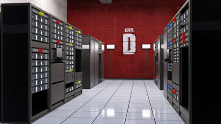 Server room, data center with computer servers in racks, computer facility data storage, 3D rendering Banco de Imagens