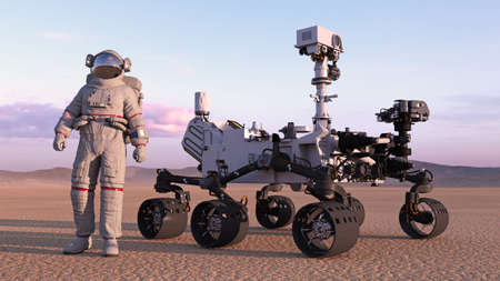 Astronaut with mars rover, cosmonaut standing next to robotic space autonomous vehicle on a deserted planet, 3D rendering
