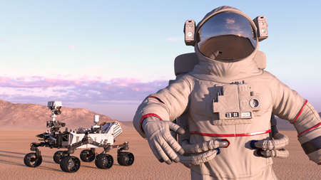 Astronaut with mars rover, cosmonaut next to robotic space autonomous vehicle on a deserted planet, close up, 3D rendering Stock Photo