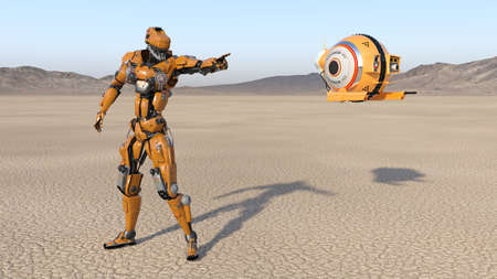 Cyborg worker with flying drone pointing, humanoid robot with surveillance aircraft exploring deserted planet, mechanical android, 3D render