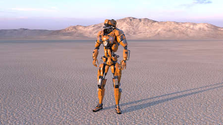 Cyborg worker, humanoid robot in desert with mountains in the background, mechanical android, 3D render