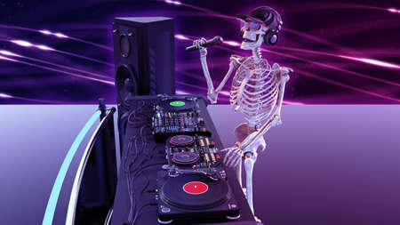 DJ Bones, human skeleton with microphone and hat playing music on turntables, skeleton on stage with audio equipment, 3D rendering