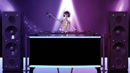 DJ Bones, human skeleton with microphone and hat playing music on turntables, skeleton on stage with audio equipment, front view, 3D rendering