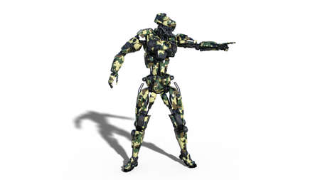 Army robot, armed forces cyborg pointing, military android soldier isolated on white background, 3D rendering