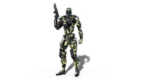 Army robot, armed forces cyborg, military android soldier holding gun isolated on white background, 3D rendering